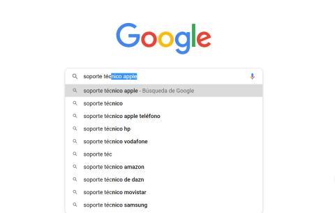 Buscar soporte técnico en Google