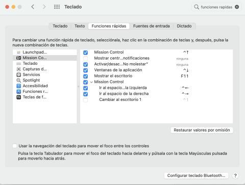 Funciones rápidas teclado Mac