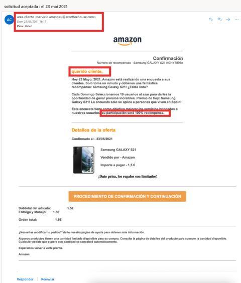 Correo estafa Amazon