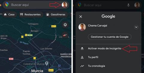 Capturas de cómo activar paso a paso el modo incógnito de Google Maps