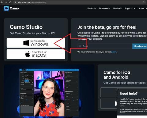 Captura software de Camo para instalar en el PC