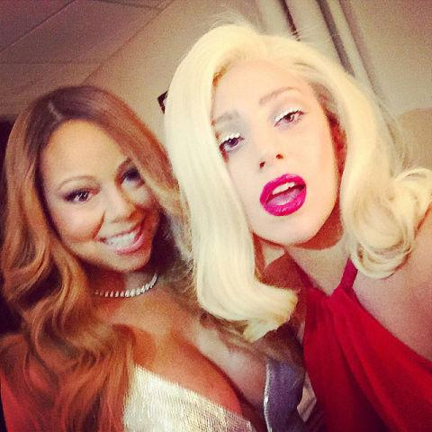 selfie de Mariah Carey y Lady Gaga, famosas y celebrities en Instagram