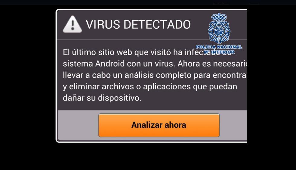 Fraude del falso antivirus. Un clásico. Se ha detectado un virus en tu sistema y te obliga a que instales una app para eliminarlo.