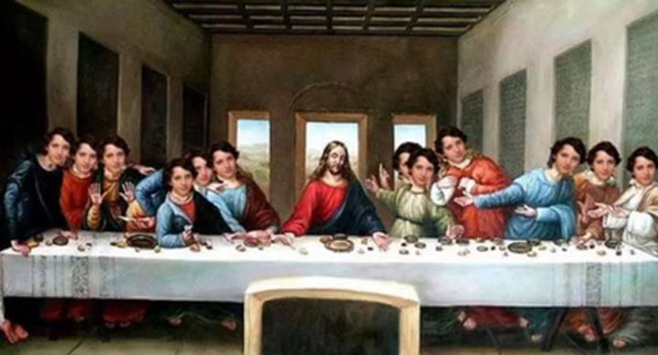 meme pequeño Nicolás en la Santa Cena