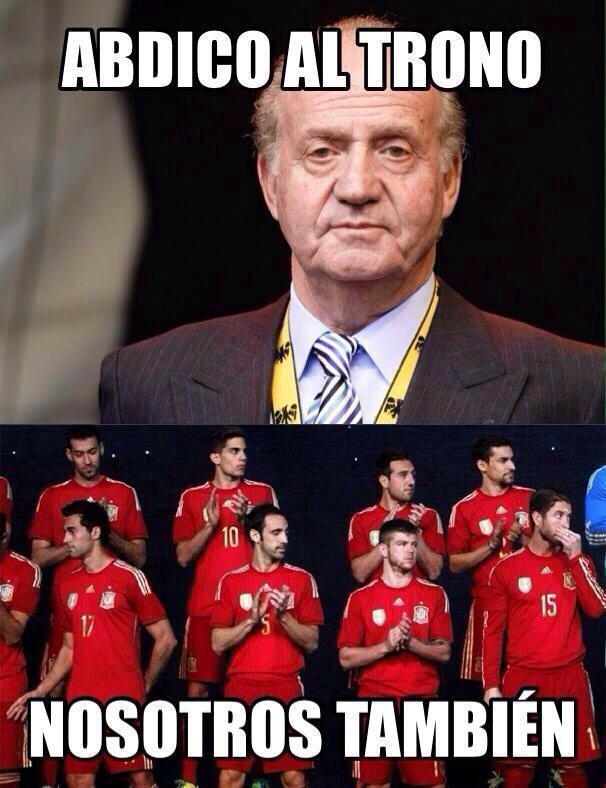 Meme Juan Carlos abdicando al Trono y la Roja Mundial 2014