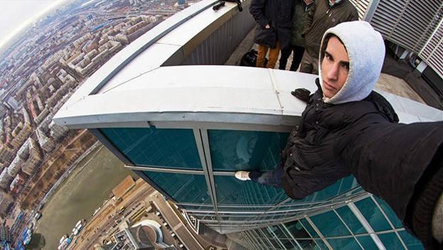 Selfie en lo alto de un rascacielos