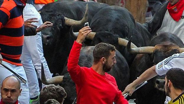 Selfie tomado en los encierros de San Fermín