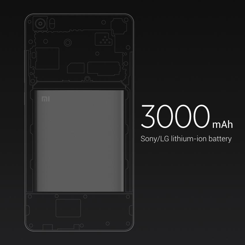 La batería del Xiaomi Mi Note es de 3.000 mAh de capacidad.