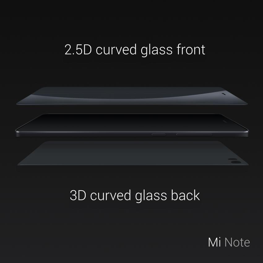 El Xiaomi Mi Note incorpora cristal curvado en la parte frontal y trasera