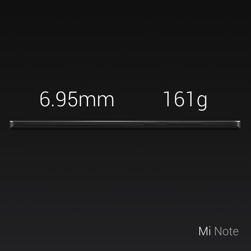Xiaomi Mi Note pesa sólo 161 gramos