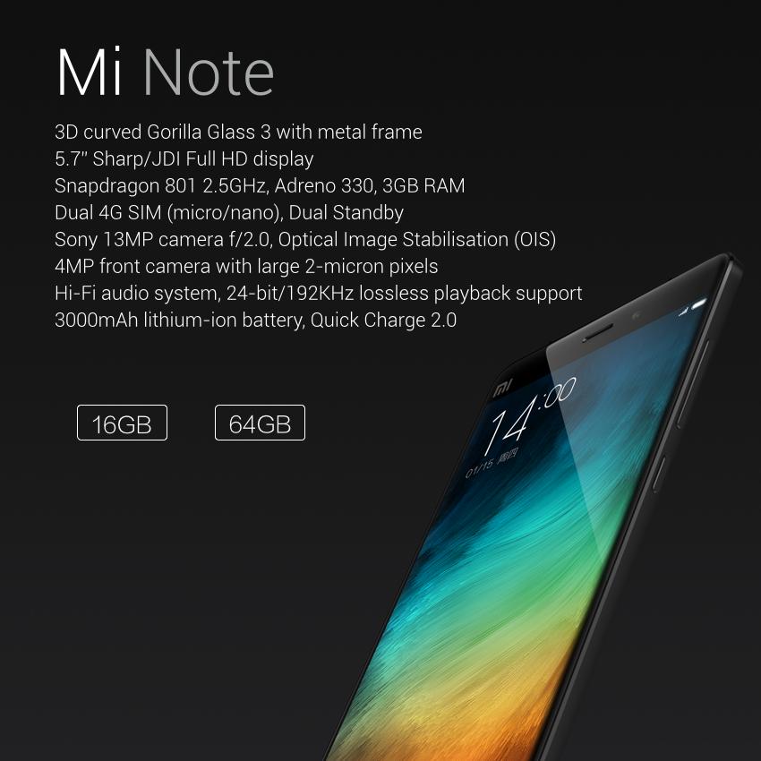 Características principales del Xiaomi Mi Note