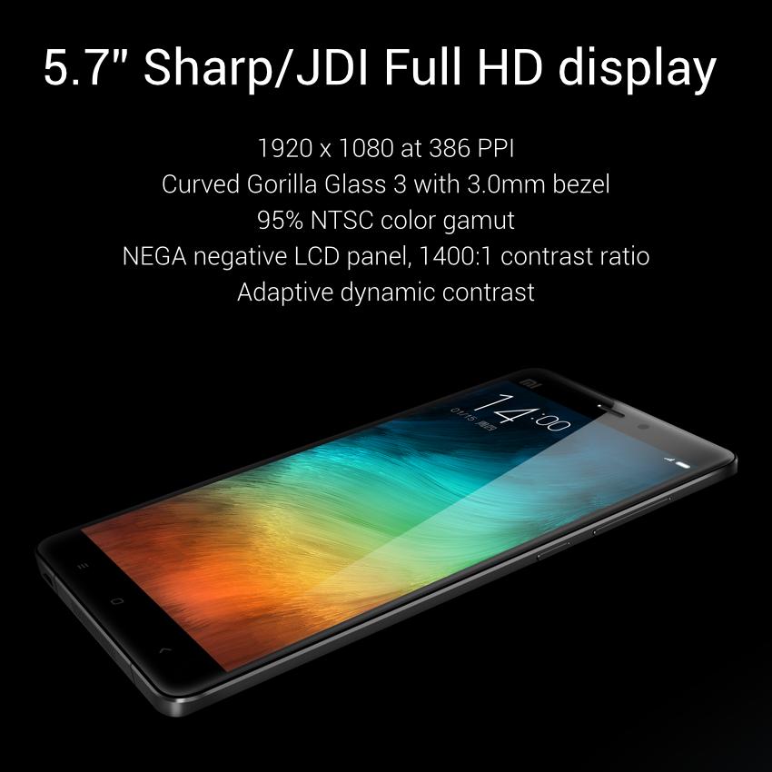 La pantalla del Xiaomi Mi Note tiene 5,7 pulgadas y resolución Full HD. Incorpora con protección Gorilla Glass 3, 95% de gamut de color y un marco de sólo 0,3 milímetros.