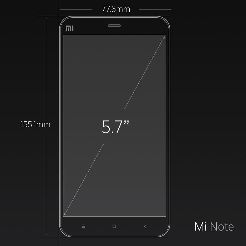 Dimensiones del Xiaomi Mi Note