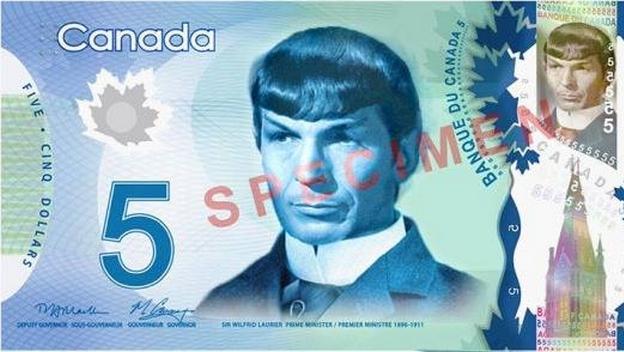 Spock en los billetes canadienses