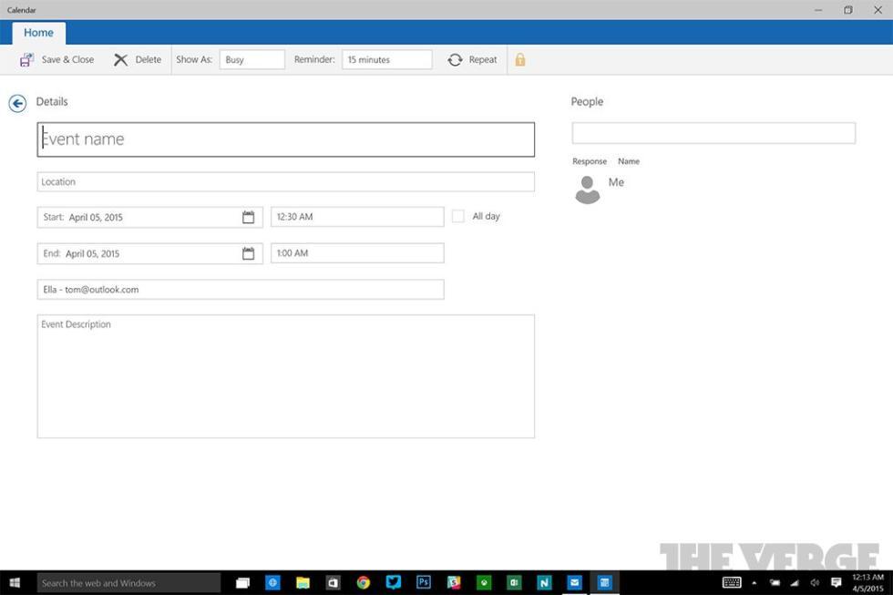 Aspecto del nuevo calendario de Windows 10