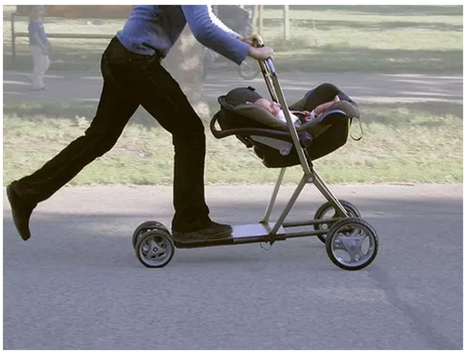 Carrito de bebé patinete inventos útiles sorprendentes