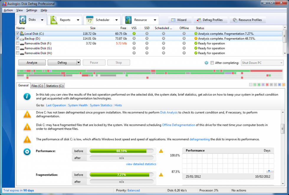 Mejores programas Windows 10 gratis: Auslogics disk defrag