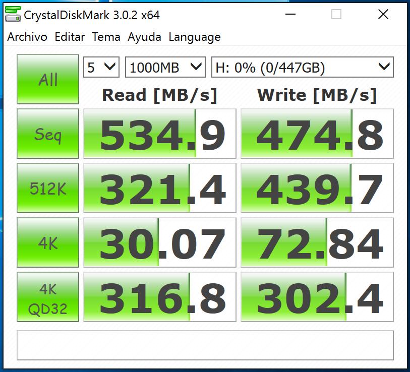 cristaldiskmark benchmark con el disco vacío