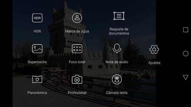 Interfaz de la cámara del Huawei Mate 8