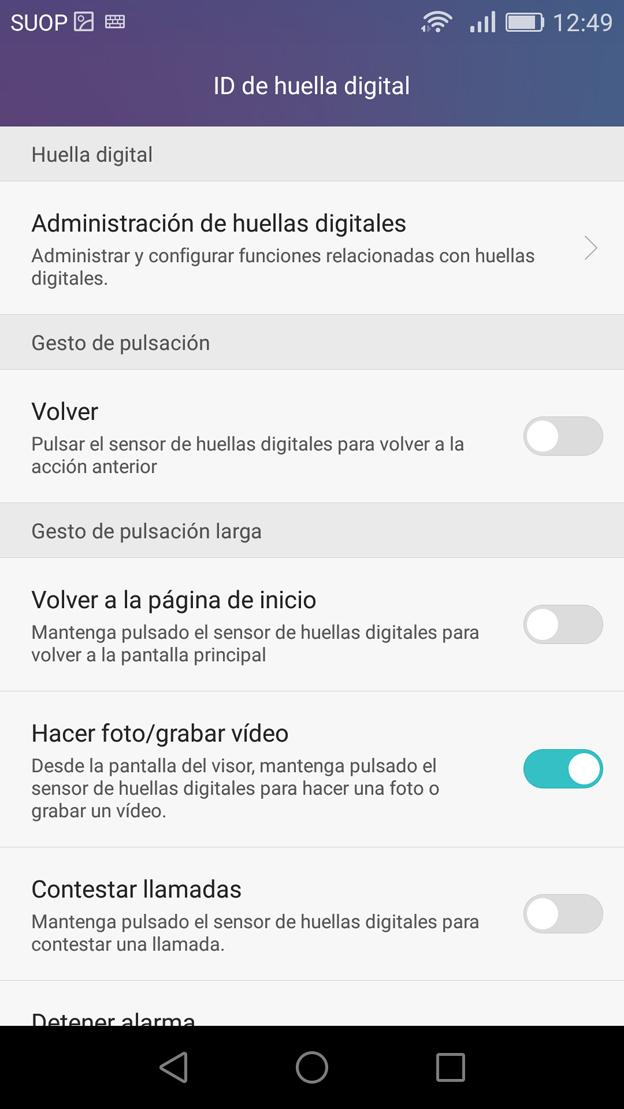 Interfaz del Honor 5X
