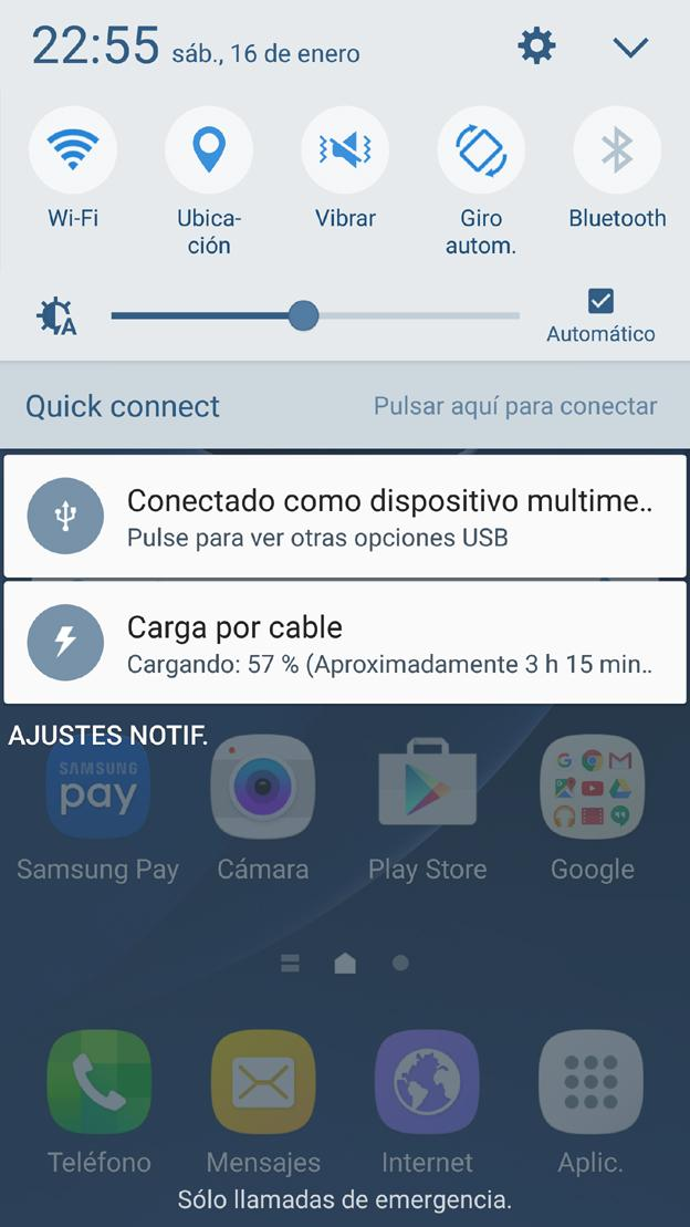Interfaz del Samsung Galaxy S7 Edge