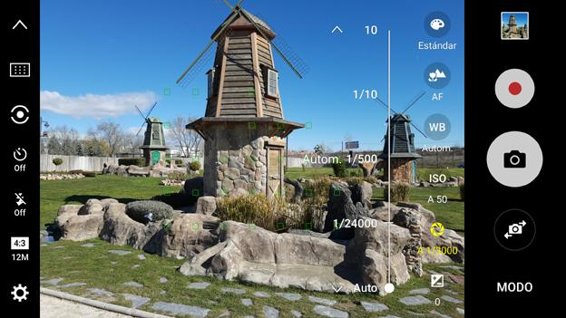 Interfaz de la aplicación de Cámara del Samsung Galaxy S7 Edge
