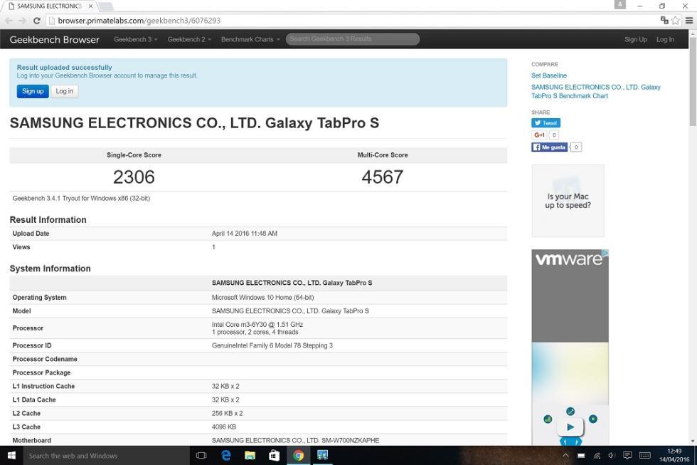 Benchmarks con la Samsung Galaxy Tabpro S