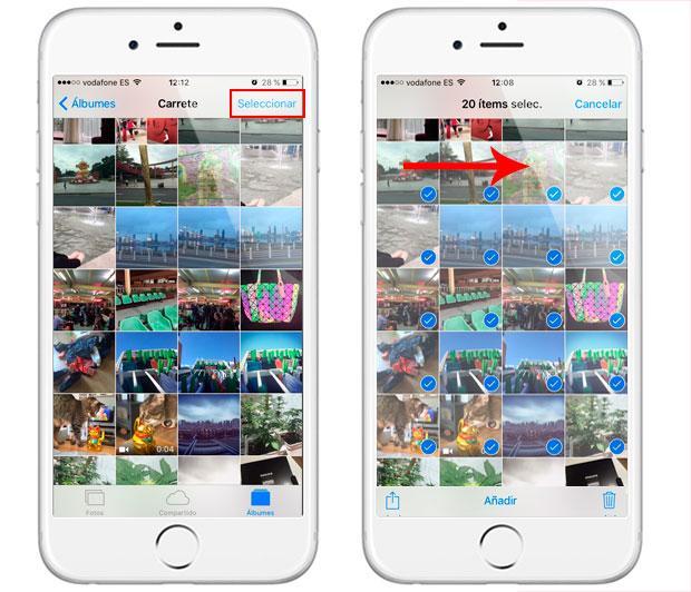 Truco para seleccionar muchas imágenes en iPhone y iPad con iOS 9