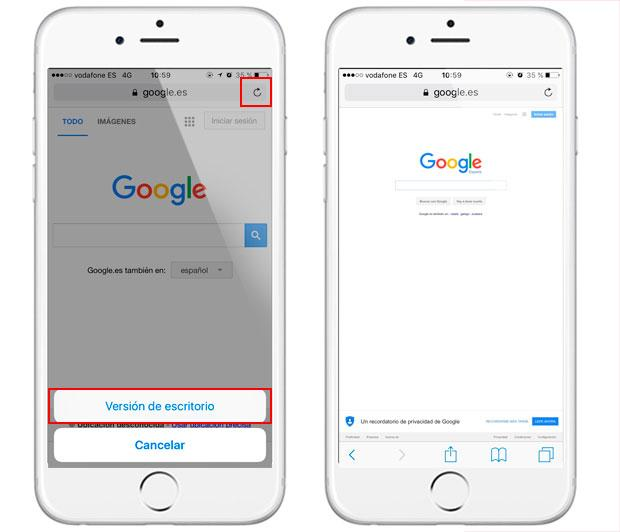 Truco para ver páginas web en versión de escritorio en el iPhone
