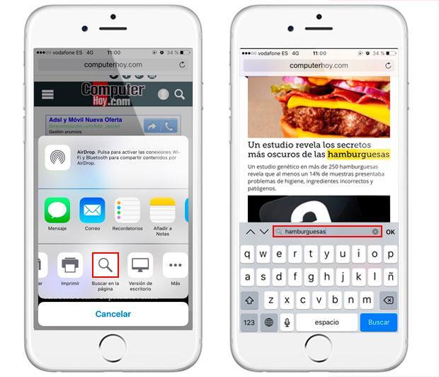 Cómo buscar palabras en una página web de Safari para iPhone