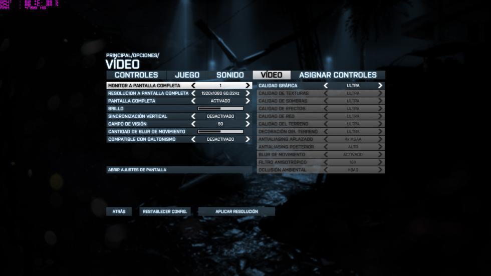 acer predator 15, configuración del Battlefield 3