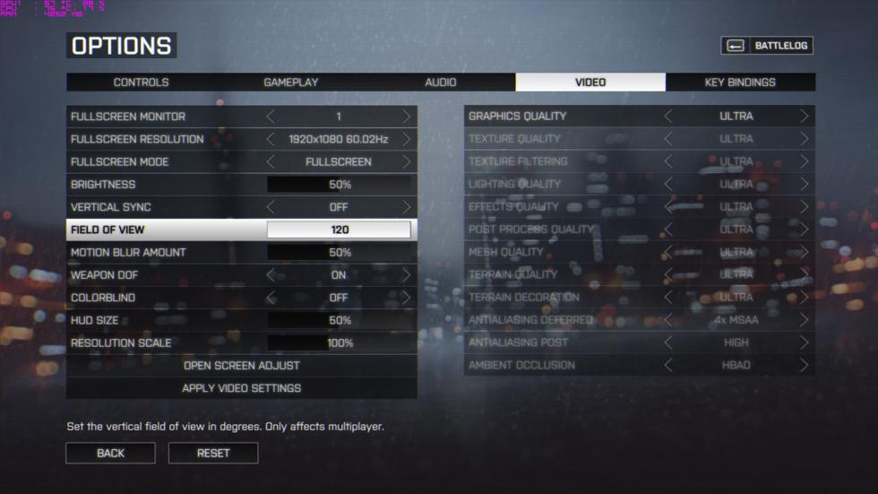 acer predator 15, configuración del Battlefield 4
