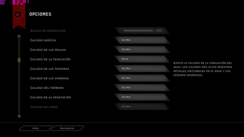 acer predator 15, configuración del Dragon Age: Inquisition