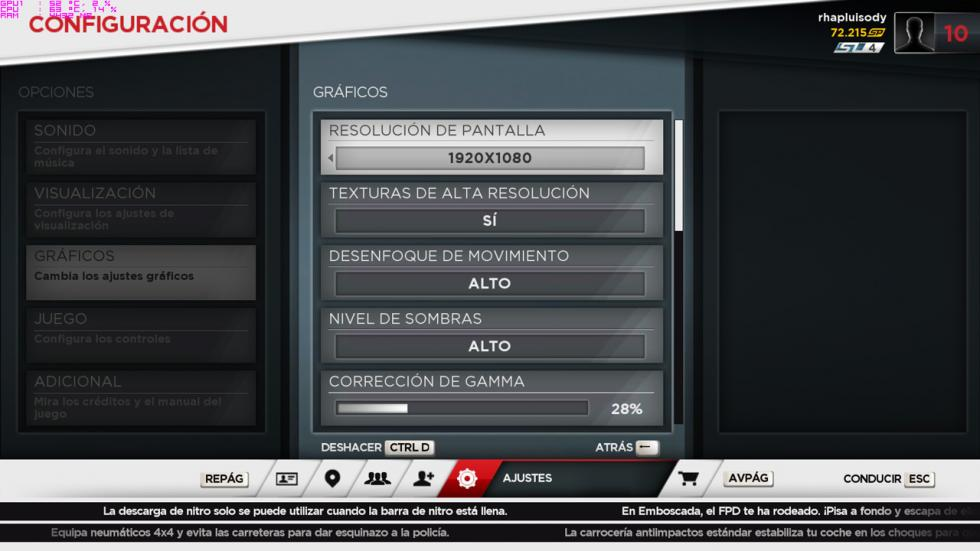 acer predator 15, configuración del Need for Speed Most Wanted 2013