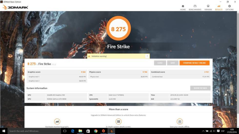 acer predator 15, resultados 3dmark fire strike