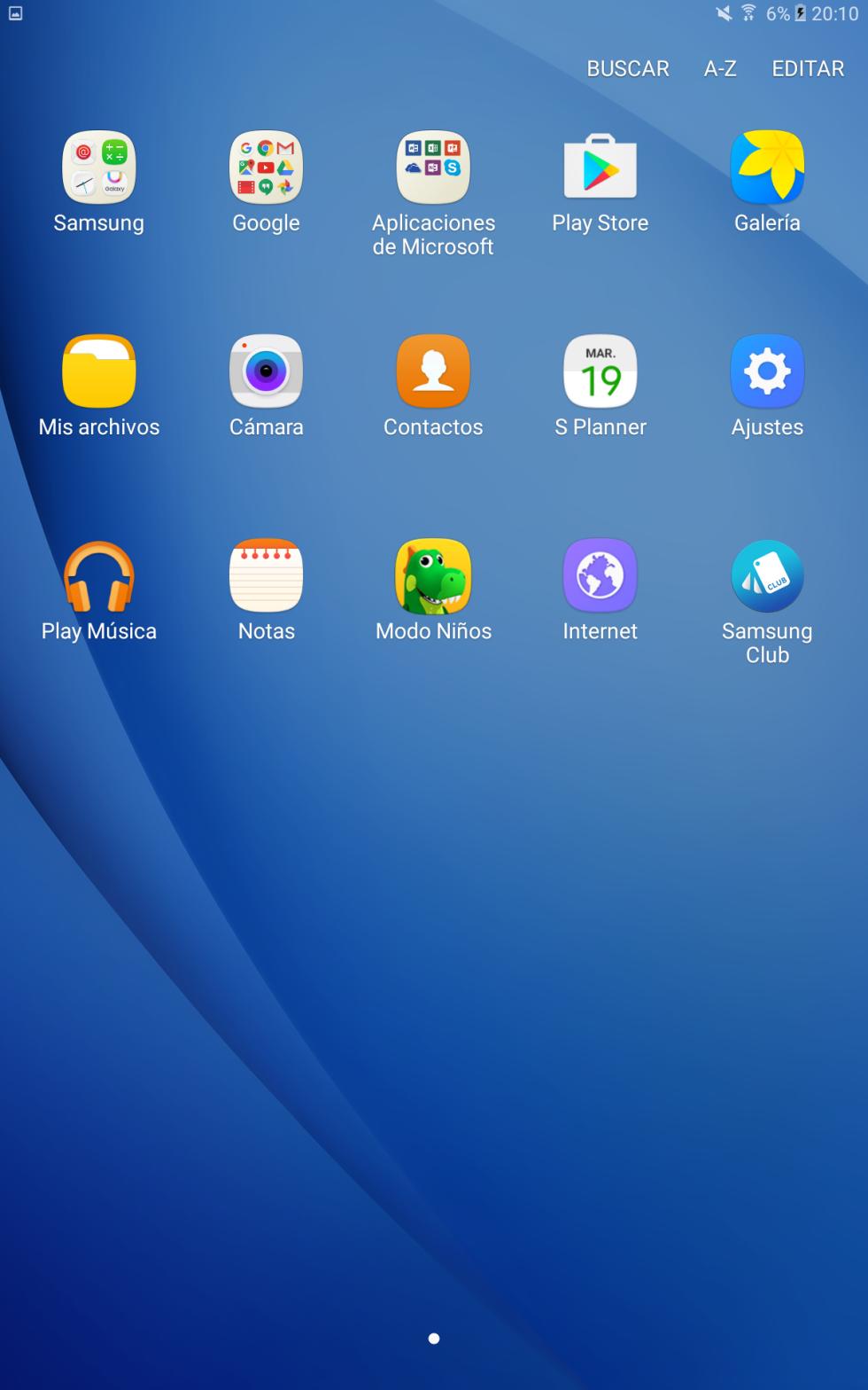 Software del Samsung Galaxy Tab A (2016) 10,1 pulgadas