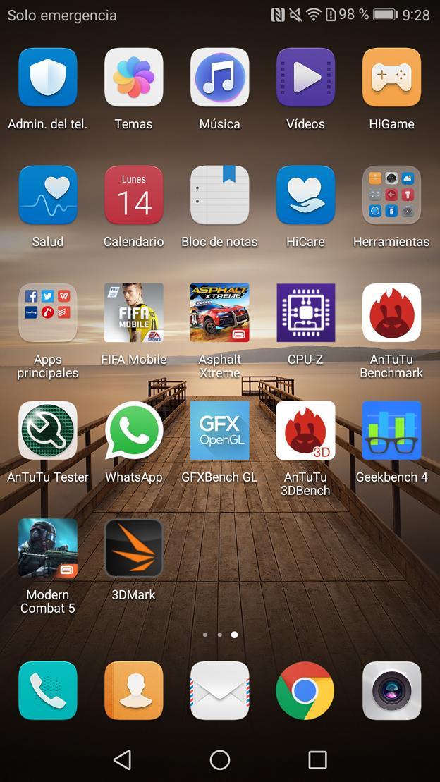 Aplicaciones en la pantalla principal