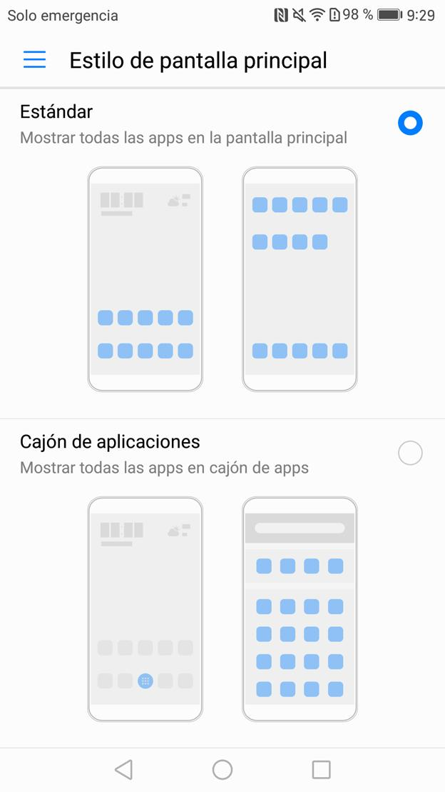 Cajón de aplicaciones en el Huawei Mate 9
