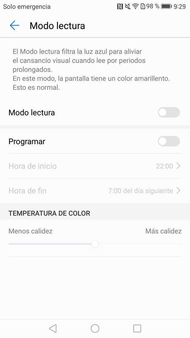 Modo noche de lectura en el Mate 9 con Android 7.0 Nougat