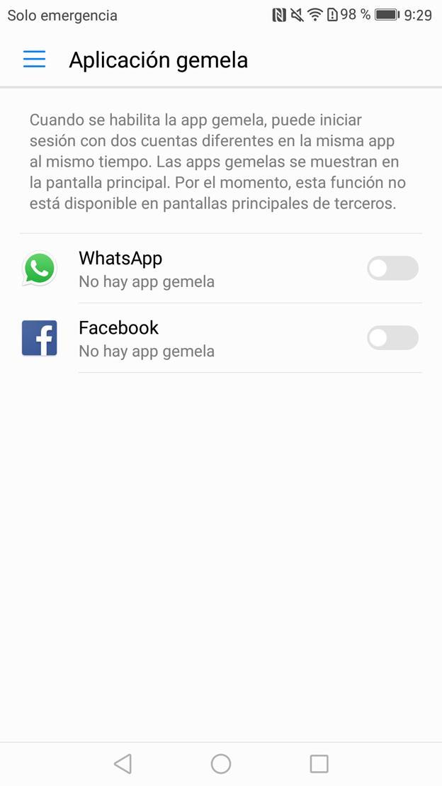 Duplicar aplicación (app gemela) en el Mate 9 Dual SIM