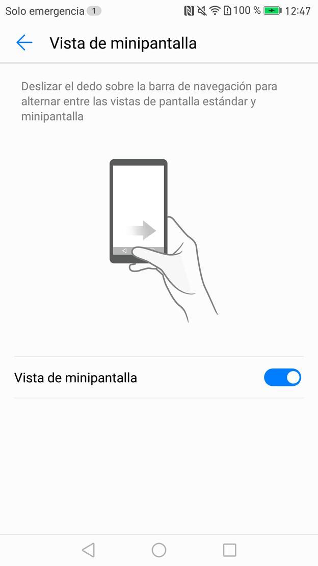 La opción de la pantalla en miniatura