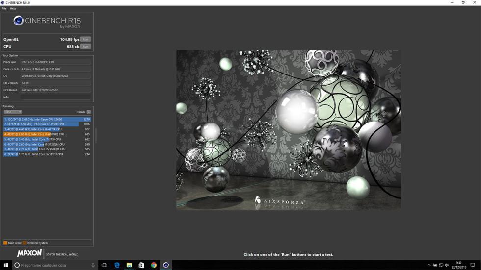 Cinebench R15 en el Gigabyte P57X
