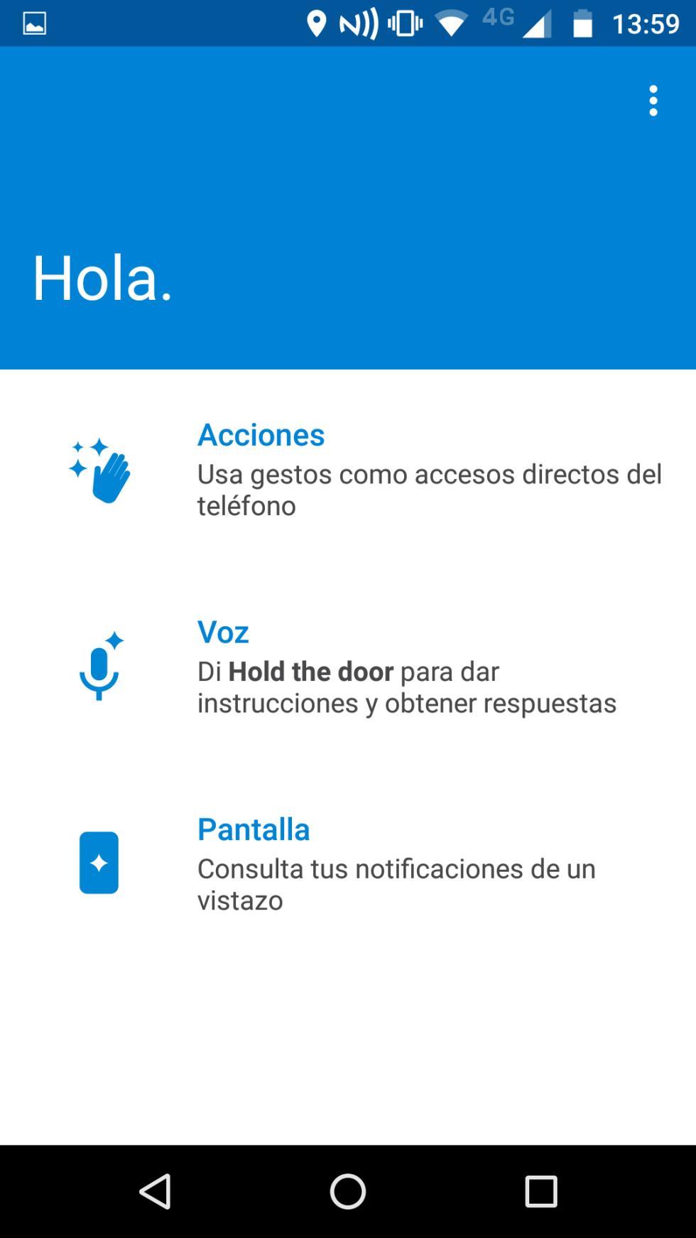 La aplicación de Moto
