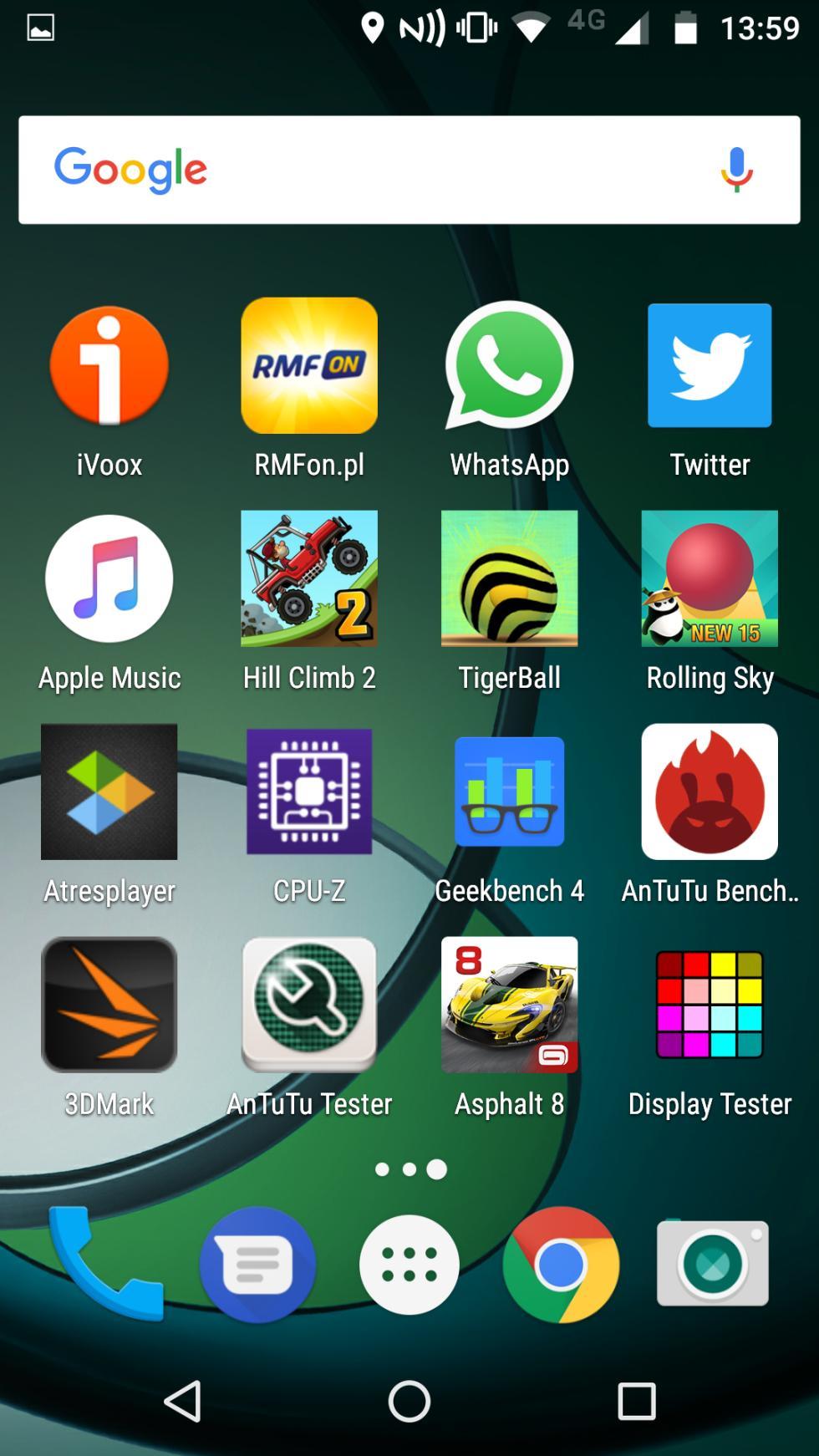 La pantalla que aparece a la derecha de la pantalla principal del móvil