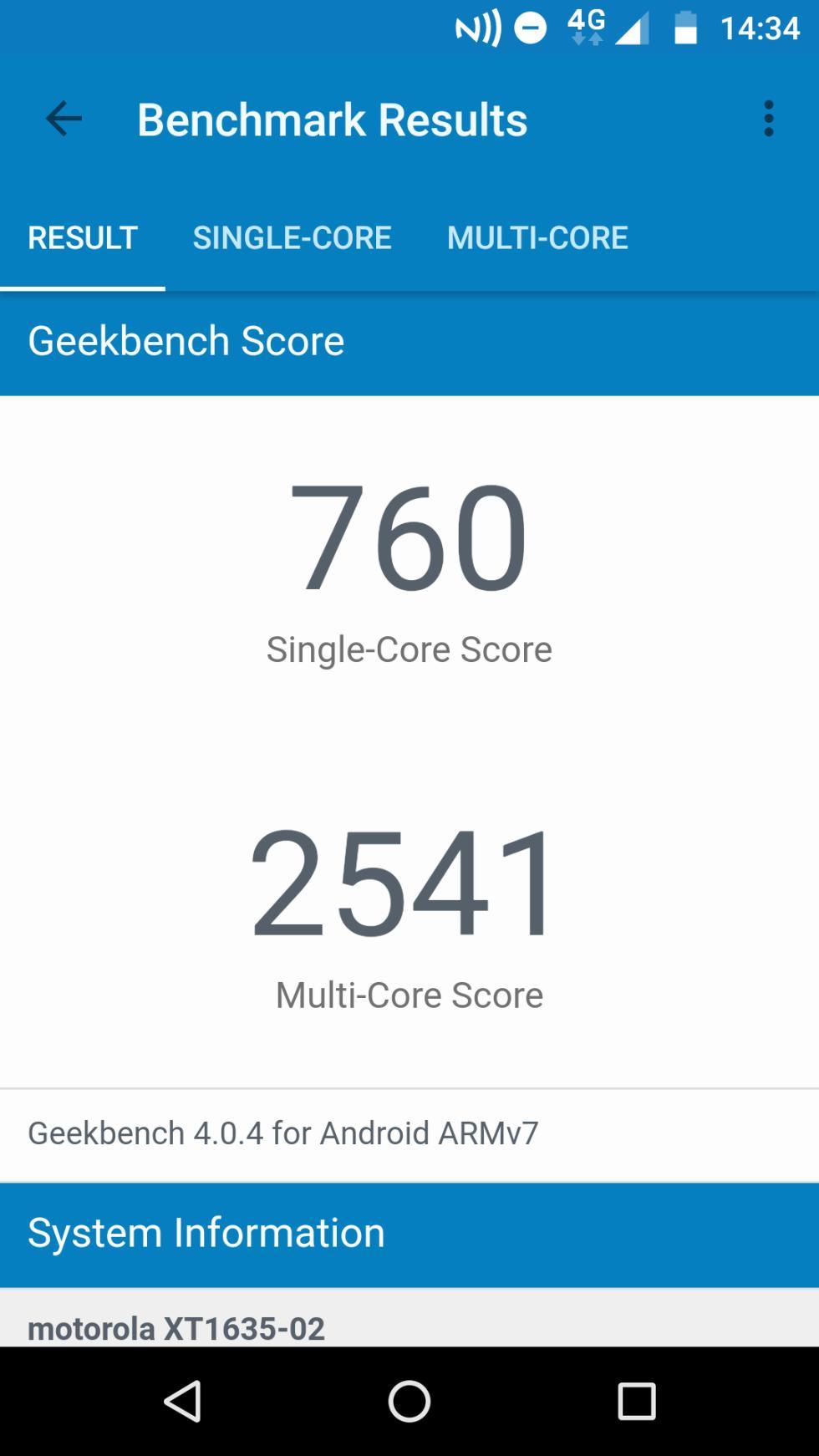Los resultados del Lenovo Moto Z Play en la aplicación de GeekBench 4