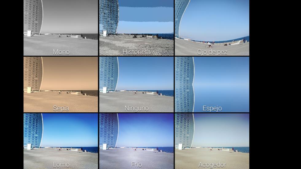 Y estos son los filtros que se pueden aplicar en tiempo real en el momento de sacar una fotografía