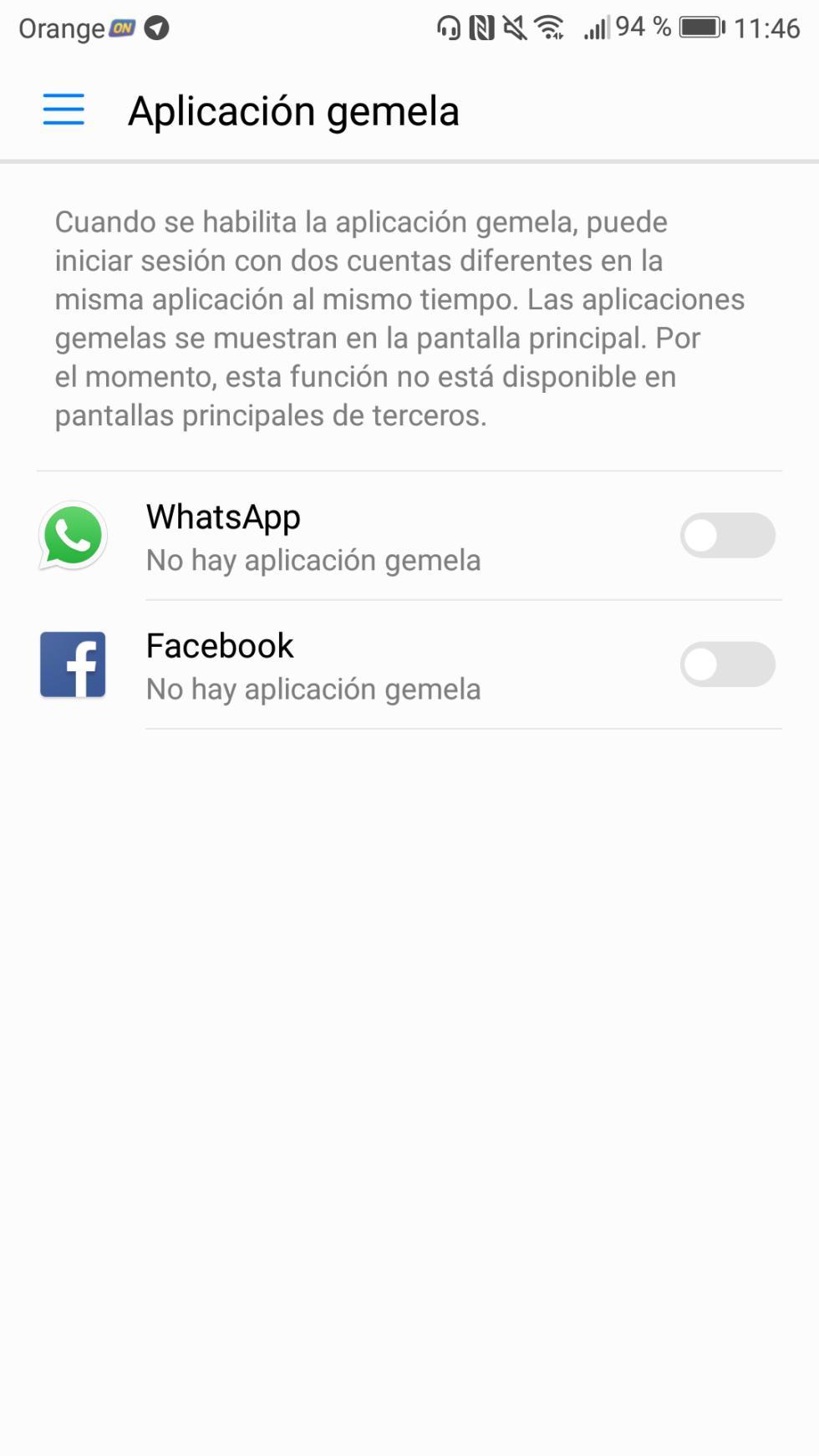La opción de la Aplicación gemela permite tener, por ejemplo, dos cuentas de WhatsApp en el mismo móvil