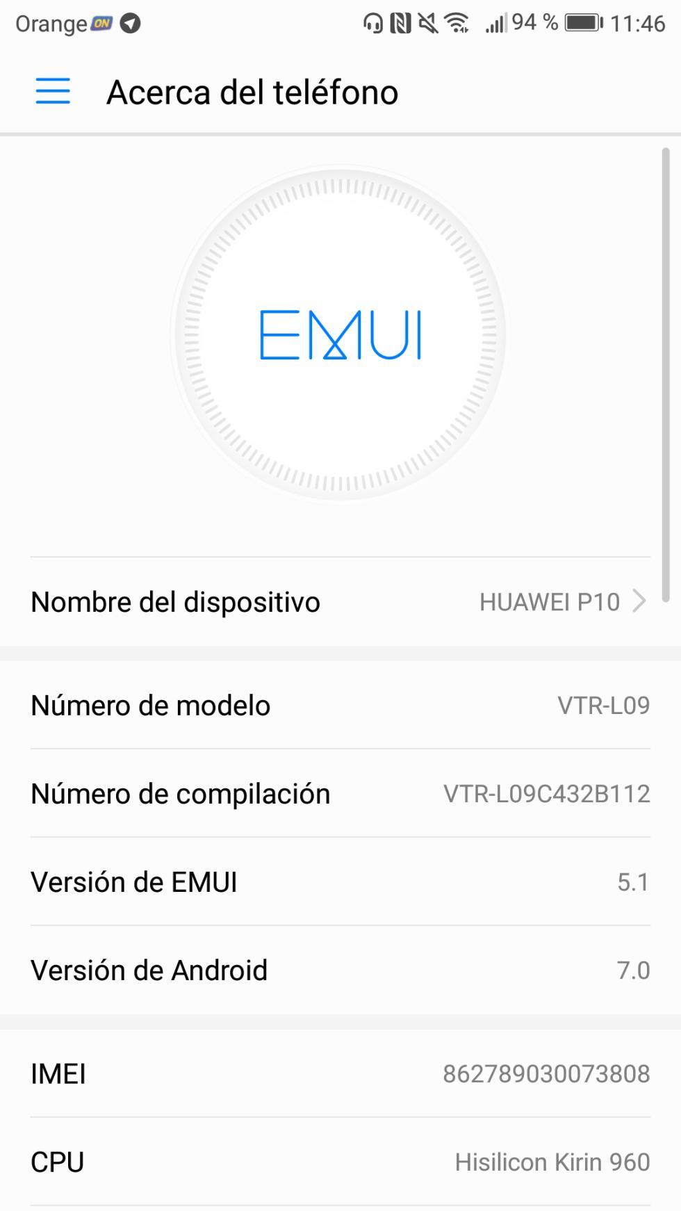 La capa de EMUI 5.1 del Huawei P10 funciona bajo Android 7.1 Nougat