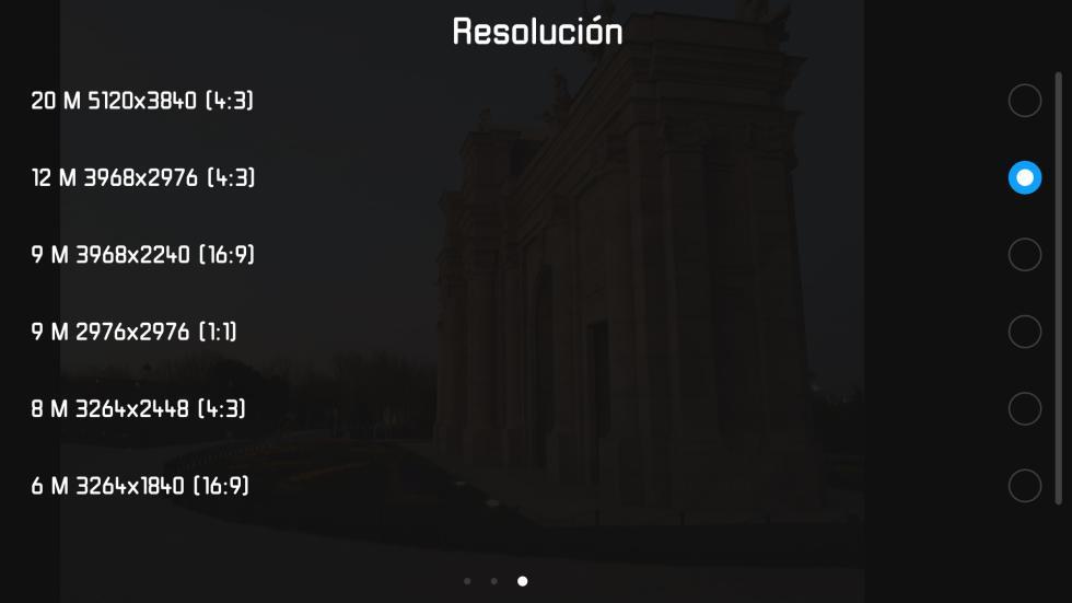 Y estas son las diferentes resoluciones en las que se pueden tomar las fotografías
