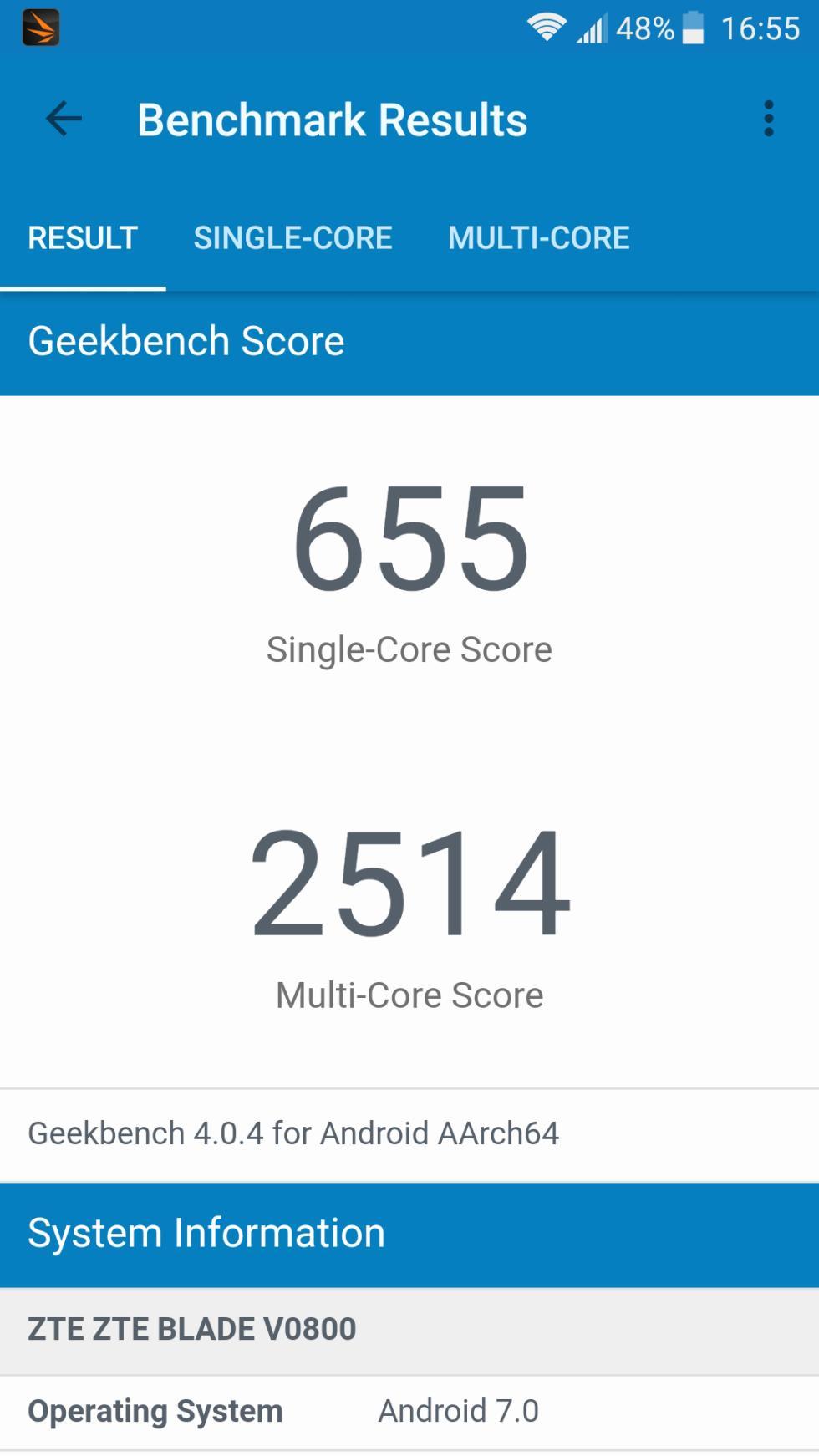 La puntuación en la aplicación de GeekBench 4 es de 655 y 2.514 puntos